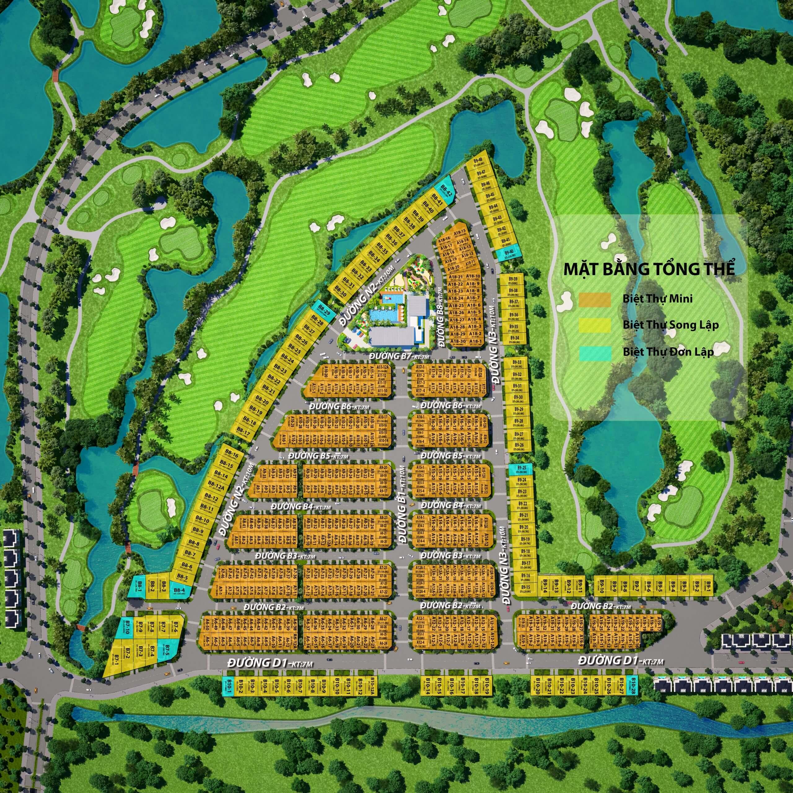 Mặt bằng phân lô Dự án Khu nghỉ dưỡng West Lakes Golf & Villas