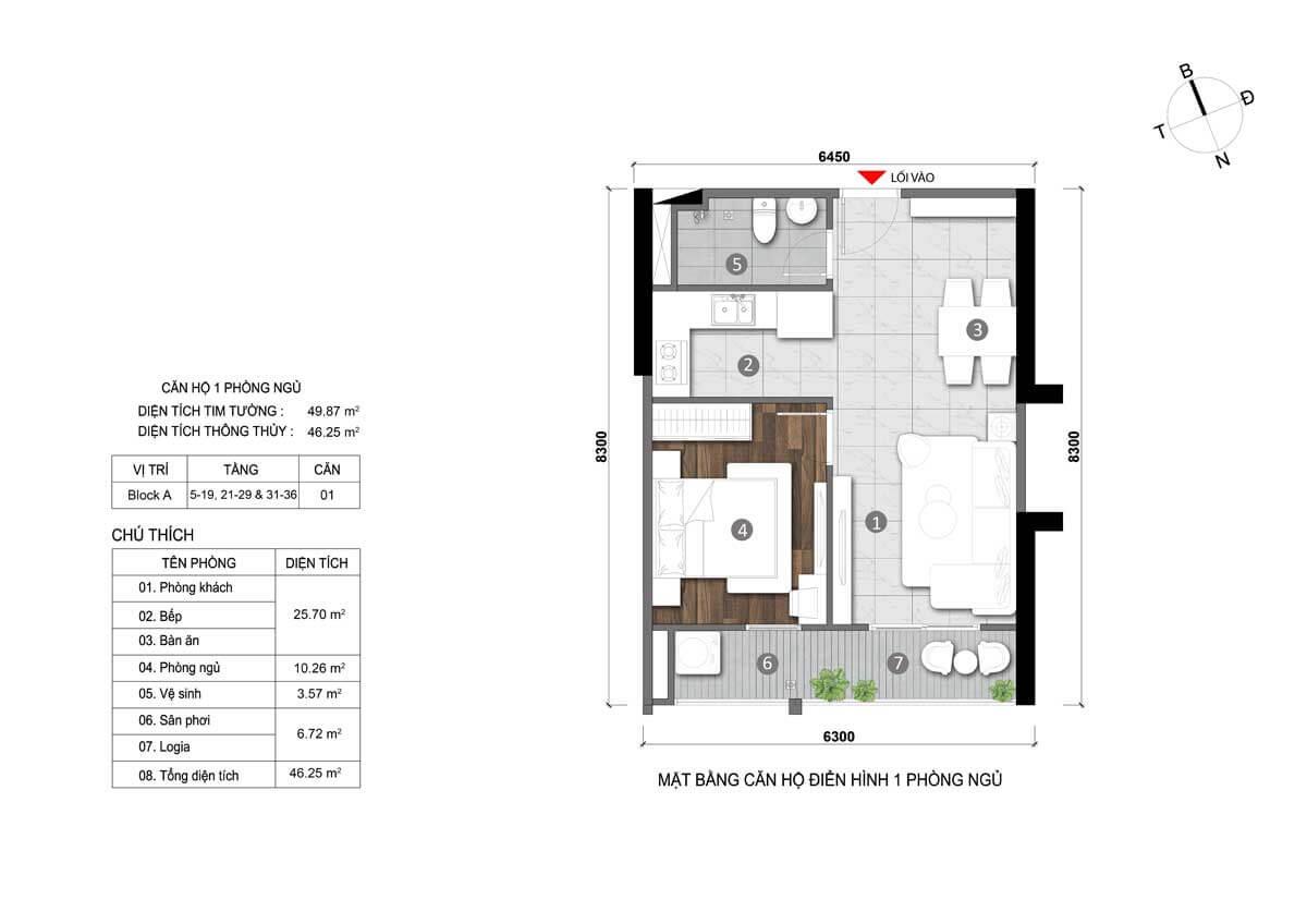 Thiết kế căn hộ 50m2 01 phòng ngủ